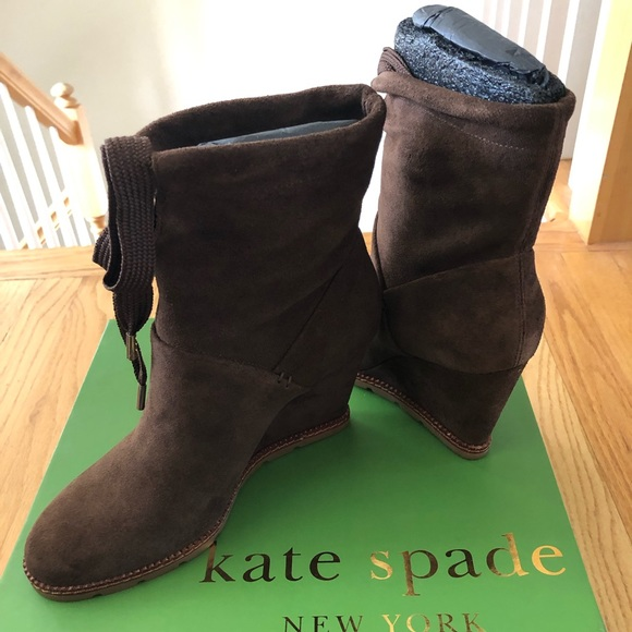 kate spade Shoes - NEW IN BOX Kate Spade brown suede ankle boots sz 7